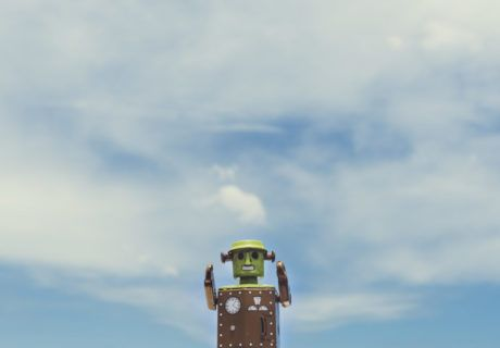 Robot tin toy with sky background - CoderZ - RAWPixel Free images