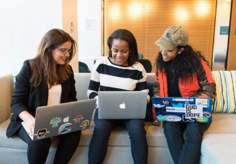 Women working on laptops Social Emotional Learning STEM Coding Robotics